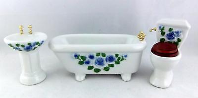 Dolls House Miniature Furniture Set Blue Flower Porcelain Bathroom Suite