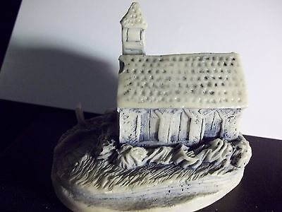 GEORGIA MARBLE SCULPTURE- CHURCH WITH CEMETERY- ROOF CHIPPED