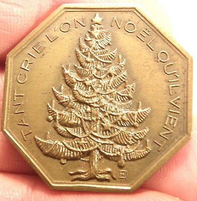 FRENCH BRONZE BEST WISHES VOEUX LES PLUS VIFS MEDAL NOEL CHRISTMAS TREE