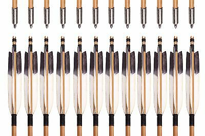 12PK JapanTRADITIONAL NATURAL FEATHERS SELF NOCK BAMBOO ARROWS FOR YUMI