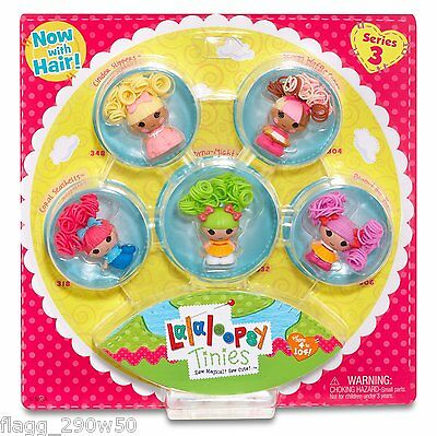 *Lalaloopsy* TINIES SERIES 3 PACK with HAIR- Cinder, Scoops, Coral, Dyna, Peanut