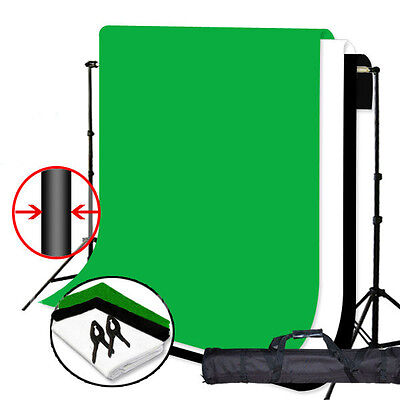 Photo Studio PRO  3 Muslin & Backdrop Support Stand 6 X 9ft Green Black White
