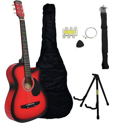 NEW Crescent Beginners HANDMADE RED Cutaway Acoustic Guitar+Stand And Extras