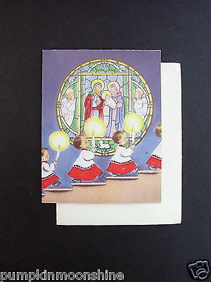 #G474- Vintage Unused Norcross Xmas Greeting Card Church Choir with Candles