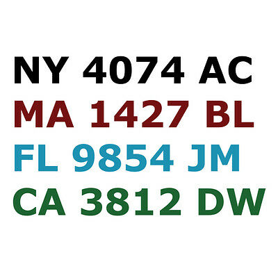 "Boat Registration Number Lettering Decals Vinyl Sticker PWC 3"" Inch Tall"