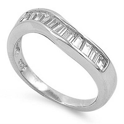 925 Sterling Silver Baguette Clear CZ Engagement Wedding Twisted Ring Size 3-11
