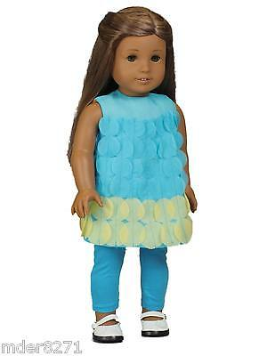 "18"" DOLL CLOTHES Fits AMERICAN GIRL Teal Legging Set Pants & Top Outfit Clothing"