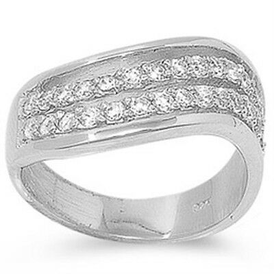 925 Sterling Silver Round Clear CZ Engagement Wedding Twisted Ring Size 3-11