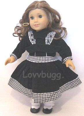 """Black Gingham Dress for 18"""" American Girl Doll Victorian WIDEST SELECTION!"""