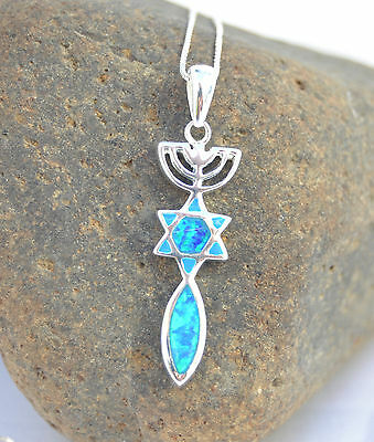 Sterling Silver Jewish necklace&pendant Menorah Star Of David&Fish Opal.holyland
