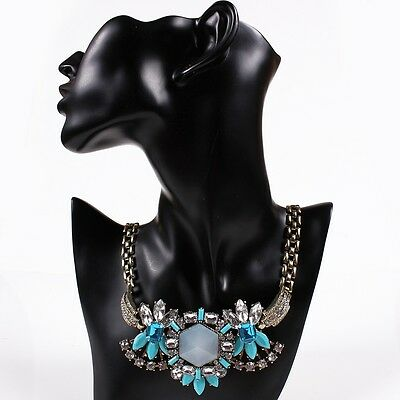 Chunky Flower Resin Beaded Faceted Crystal Pendant Bib Choker Collar Necklace