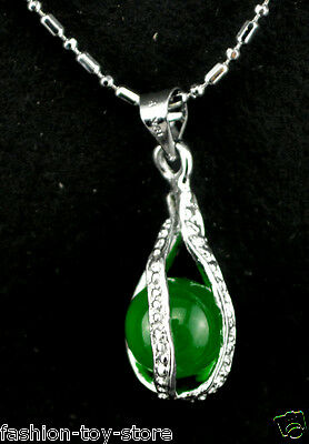 Beautiful green jade pendant silver plated necklace