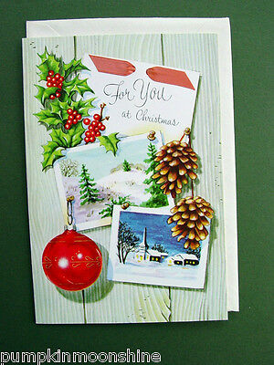 "#336- Vintage Unused ""For You at Christmas""  Xmas Greeting card by Norcross"