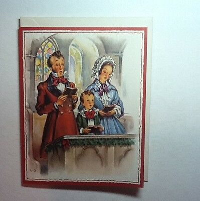 Vintage Unused Crestwick Xmas Greeting Card Victorian Family Singing In Church