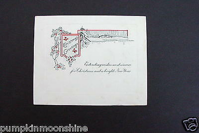 Vintage Unused Art Deco Xmas Greeting Card Hand Colored Winter Berry Garland
