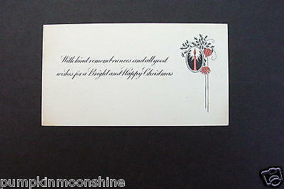 Vintage Unused Art Deco Xmas Greeting Card Holiday Candle & Holly Leaves