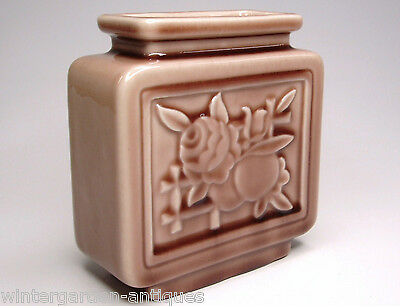 Antique Vintage 1956 Rookwood Pottery Square Wine Madder Vase Ohio Home Builders