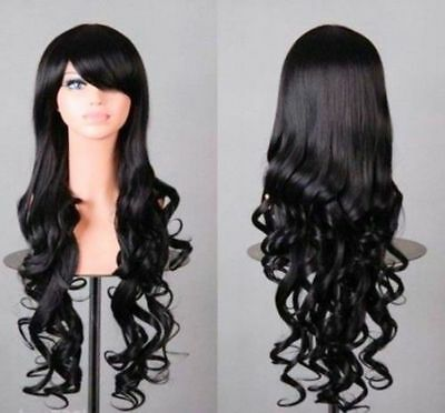 Sexy Fashion Womens Full wigs Long Black Curly Wavy Wig Cosplay hair Party WigS