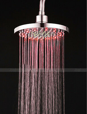 """7 Colors Automatic Changing 8"""" Round Bathroom LED Light Rain Top Shower Head"""