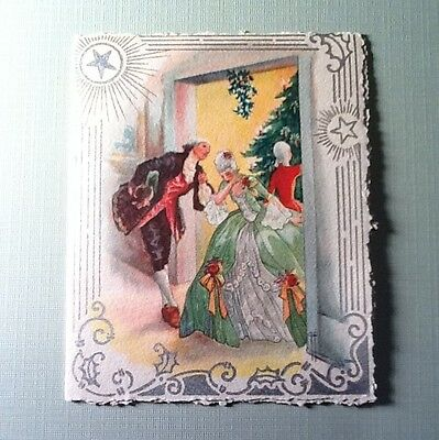 #D120- Vintage 1931 Xmas Greeting Card Fancy Party & Victorian Couple, Stunning