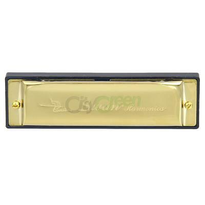 New Fashion C Key 10 Holes Harmonica Silver with Blue Case for Beginner