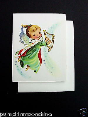 Vintage Unused Norcross Xmas Greeting Card Adorable Angel Playing the Harp