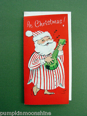 Vintage Unused Norcross Xmas Greeting Card Adorable Santa In His PJ's, Too Cute