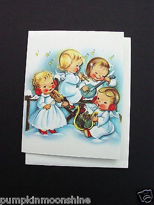 Vintage Unused Norcross Xmas Greeting Card Angels Playing Musical Instruments