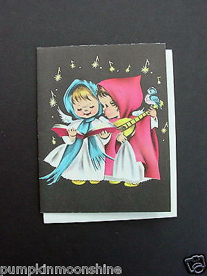 Vintage Unused Norcross Xmas Greeting Card Angels Singing & Playing the Mandolin