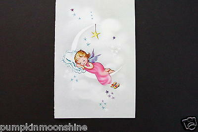 Vintage Unused Norcross Xmas Greeting Card Angel Sleeping on Crescent Moon
