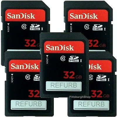 Lot of 5 x 32gb SanDisk SDHC Class 10 30MB/s UHS-1 Camera Flash SD Memory Card