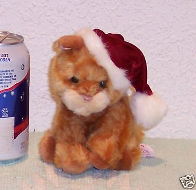 * RUSS Plush Stuffed ORANGE TABBY Striped CHRISTMAS Cat WHISKERS