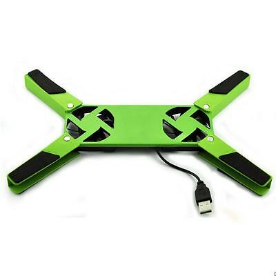Universal Portable 2 Fans Fold USB PC Notebook Laptop Cooling Pad Cooler Green