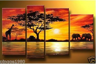 4PC MODERN ABSTRACT HUGE WALL ART OIL PAINTING ON CANVAS  (no framed) P084