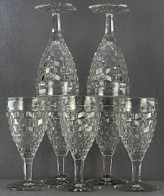 Estate - As Lot 7Pcs Fostoria American Pattern 10 Ounce Hex Base Water Goblets