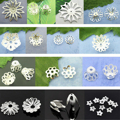 End New Bead Caps Flower Silver Plated M0982