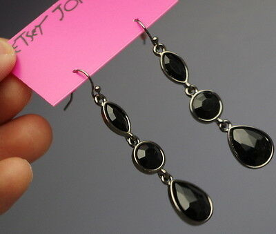 Brand NEW Betsey Johnson Black sexy elegant beads drop dangle earrings free ship