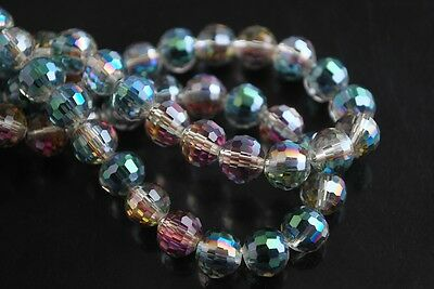 30pcs 10mm 96Faceted Round Ball Glass Crystal Findings Spacer Beads Rose Green