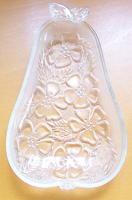 RARE 1960's Pear Shape Spoon Rest Clear Crystal Pressed Depression Glass