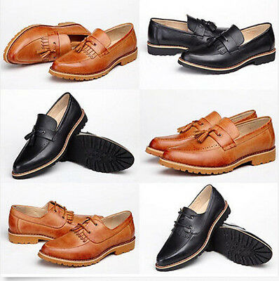 Fashion Mens Dress Casual leather tassel loafer Oxford Brogues Shoes black brown