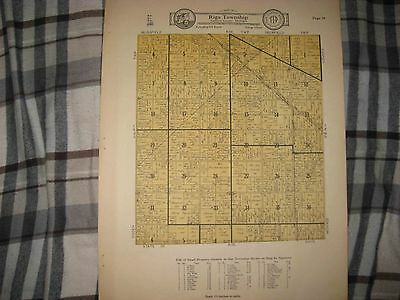 Antique 1928 Riga Township Lenawee County Michigan Map W Land Owners Railroad Nr