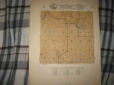 Antique 1928 Rollin Township Addison Devils Lake Lenawee County Michigan Map Nr
