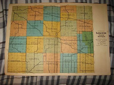 Antique 1928 Adrian Palmyra Deerfield Morenci Lenawee County Michigan Map Superb
