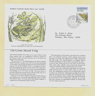 First Day Semi-Postal Cover WWF Netherlands 1976 GREEN MARSH FROG