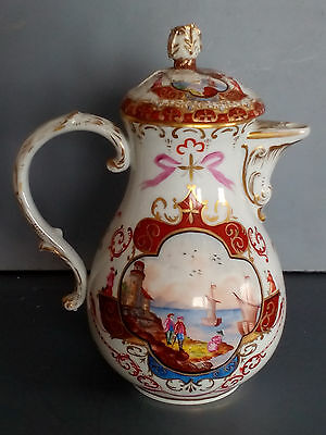 Antique Meissen Hand Painted Porcelain Chinoiserie Coffee Pot and Cover ca. 1815