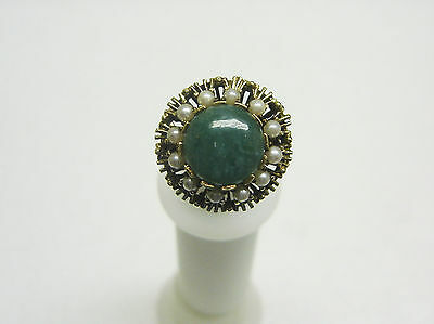 VINTAGE AND FABULOUS 14K YELLOW GOLD  JADE/SEED PEARL RING SIZE 6 RG36-A
