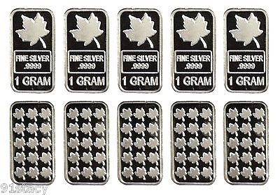 10x Pure Solid .999 Silver 1 Gram Bullion Maple Leaf Investment Bars