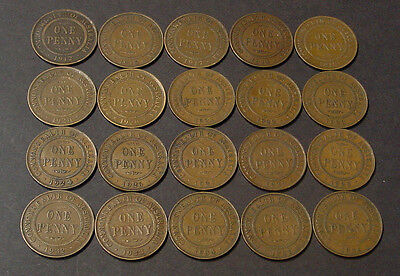 1912 to 1936 Australian KGV pennies, 20 coins, decent circulated grades.