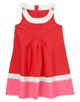 NWT Crazy 8 Retro Sweetie Pleated Colorblock Dress Sz: 2T Red/Pink/White