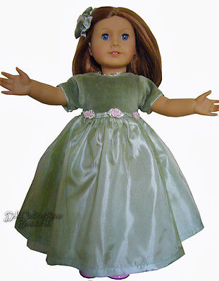 """Fancy Olive Colored Dress & Hair Bow for 18"""" American Girl Doll Clothes"""